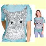 【摩達客】(預購) 美國進口ColorWear 貓咪小姐 禪繞畫療癒藝術 環保短袖T恤