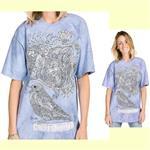 【摩達客】(預購) 美國進口ColorWear 花鳥鳴 禪繞畫療癒藝術 環保短袖T恤