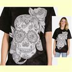 【摩達客】(預購) 美國進口ColorWear 蜜糖骷髏 禪繞畫療癒藝術 環保短袖T恤
