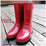 【Sanho】英倫風半筒雨靴(蘋果紅)
