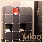 【ikloo】diy家具16格16門收納櫃/組合櫃
