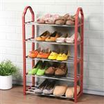 YoStyle 輕巧五層鞋架-赭紅色