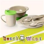 美國Husk'sWare【寶貝兒童】稻殼餐具組(五件組)-蘋果綠