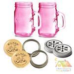 英國 KILNER 粉紅握把玻璃杯 八件組(四件式個人套組X2)