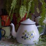 Emalia Olkusz波蘭琺瑯 傳統橄欖 White with Olives 茶壺 (1.3L)