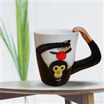 3D動物造型手繪風陶瓷杯- 黑猩猩(350ml) 加碼送貼心茶包架