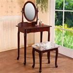 YoStyle 古典歐風化妝桌椅組-胡桃色
