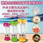 新款熱銷糖果色(密封、吸管)果汁咖啡靜音電動隨行攪拌杯(400ml)3色可選-紅色