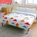 【 Luna Vita 】雙人 天鵝絨 超細纖維 鋪棉床包兩用被四件組-俄羅斯屋