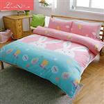 【 Luna Vita 】雙人 天鵝絨 超細纖維 鋪棉床包兩用被四件組-粉櫻兔兔