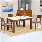 Yostyle 戈爾迪4.3尺石面餐桌椅組(一桌四椅)