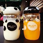 第二代GOOD胖胖蘑菇透明玻璃杯/水杯/隨手杯 (附隔熱套)(300ML)(隨機出貨)