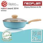 【韓國NEOFLAM】26cm陶瓷不沾炒鍋+透明玻璃蓋(Retro系列)-薄荷色