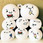 日本顏文字白色扁饅頭小沙球/圓球/玩偶(10cm)(顏色款式隨機出貨)