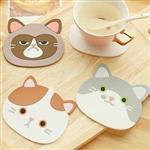 貓咪樂園大臉矽膠杯墊(顏色款式隨機出貨)