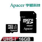 Apacer宇瞻 16GB MicroSDHC UHS~I Class10 記憶卡 ^(附