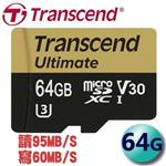 Transcend 創見 64GB 95MB/s microSDXC TF U3 V30 記憶卡