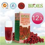 【囍瑞 BIOES】純天然 100% 蔓越莓汁綜合原汁(1000ml - 12入)