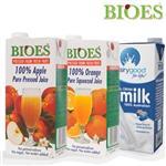【囍瑞 BIOES】純天然水果原汁(1000ml)蘋果汁 x 5 柳橙汁 x 5 澳洲牛奶 x 2