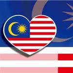 ~國旗 館~馬來西亞國旗愛心形抗UV、防水貼紙2入/Malaysia