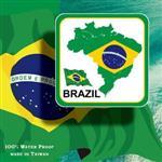 ~國旗 館~巴西國旗領土抗UV、防水貼紙/Brazil/多國款式購