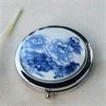 【品生活道具屋】貼花白瓷隨身鏡‧古典的東方美‧優雅青花
