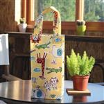 手繪可愛動物 防水四角水壺袋~黃色