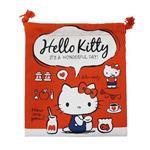 凱蒂貓 HelloKitty 帆布 束口袋 收納袋 抽繩束口袋 三麗鷗 Sanrio