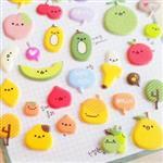 Super Cute立體水果逗表情海綿日記貼紙