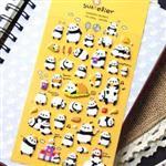 圓仔貓熊慵懶生趣立體海綿泡泡日記貼紙