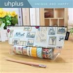 uhplus 透明寬底筆袋-巴黎郵票