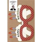 日本【LABCLIP】Birthday card系列造型生日卡片-眼鏡紅