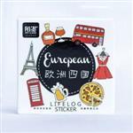 歐州四國‧手帳禮物裝飾貼紙(45入/盒)