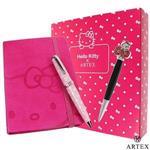 ARTEX x KITTY 水鑽筆+皮質筆記本禮盒組