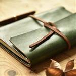 Adventure探險系列-純手工真皮古樸綠 + 陌上花開(灰色)定頁本介紙1.0內頁(鋼筆專用紙)