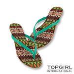 TOP GIRL-炫彩圖騰夾腳拖鞋-藍綠花