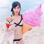 旋轉甜筒冰淇淋大型泳圈/游泳圈/浮板/漂浮板(隨機出貨)