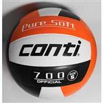 CONTI 台灣品牌 超軟橡膠排球(5號球)  V700-5-WBKO 白/黑/橘