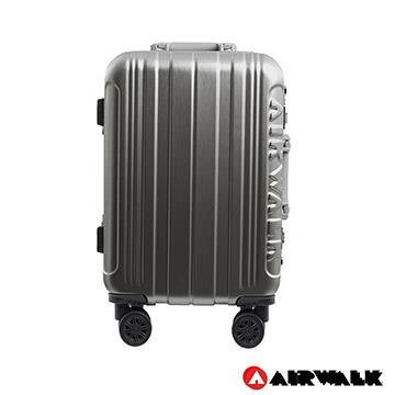 AIRWALK- 金屬森林 木絲鋁框復古壓扣行李箱 20吋ABS+PC鋁框箱 - 碳鑽灰
