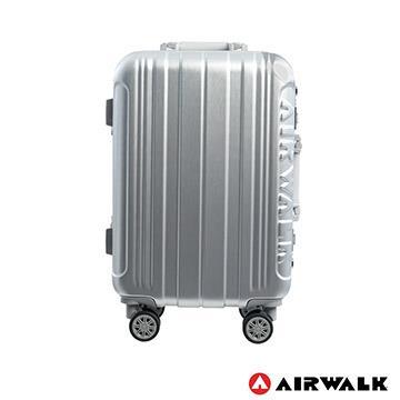 AIRWALK  - 金屬森林 木絲鋁框復古壓扣行李箱 20吋ABS+PC鋁框箱 - 銀雪白