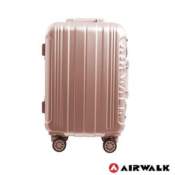 AIRWALK  - 金屬森林 木絲鋁框復古壓扣行李箱 20吋ABS+PC鋁框箱 - 玫銅金