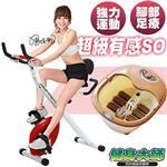 (健身大師)坐墊握把型磁控健身車送泡腳機-紅