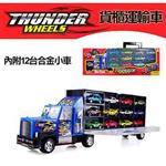 【17mall】手提式雙面貨櫃運輸小汽車組(內附12台小車)-藍