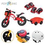 【BabyTiger虎兒寶】POPBIKE 兒童平衡滑步車 - AIR充氣胎 + 豪華拖車組(粉)