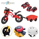 【BabyTiger虎兒寶】POPBIKE 兒童平衡滑步車 - AIR充氣胎 + 豪華拖車組(紅)