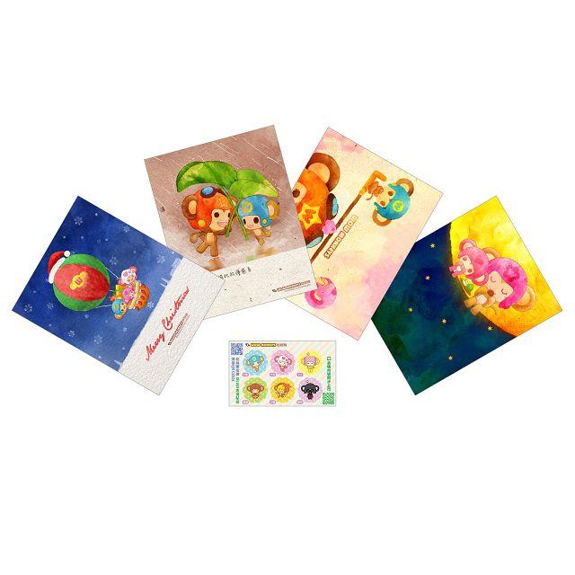 娃娃猴彩繪明信片貼紙組