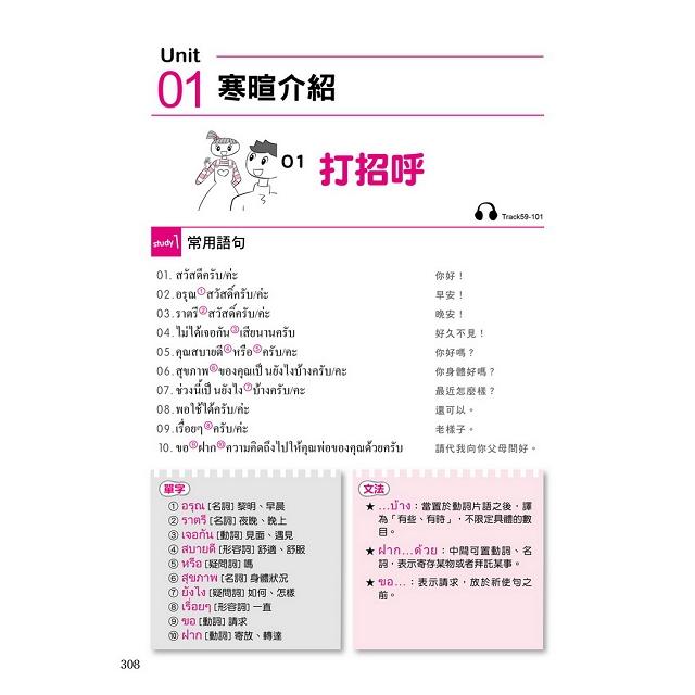 自學泰語看完這本就能說:專為華人設計的泰語教材,字母+筆順+單字