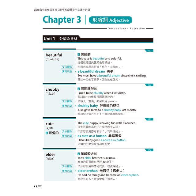 超高命中率GEPT全民英檢初級單字+文法+片語(附1MP3)