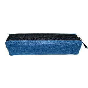 黑色雙拉鍊棉布筆袋/藍