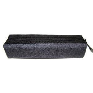 黑色雙拉鍊棉布筆袋/灰